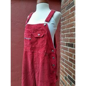Vintage Wide Wale Bib Overalls VSCO Y2K Fall Red